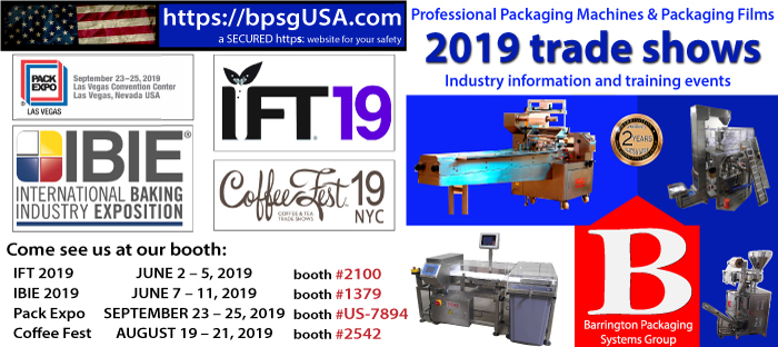 Coffee Fest, IBIE 2019, ITF, Pack EXPO, IDDBA, Automated Packaging Systems