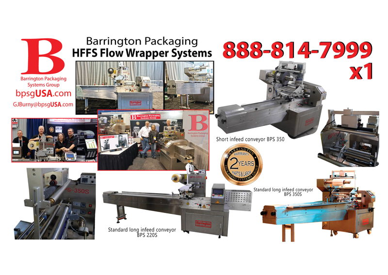 Barrington Packaging offers affordable, high-quality solutions for all of your packaging equipment needs. We offer flow wrappers, vertical baggers, stick baggers, cup and tray sealers, pouch fillers, quality control equipment and more. All are backed with the industry's best warranty - parts and labor for two full years