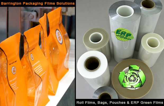 We feature a full line of printed and unprinted specialty packaging materials: Laminated structures (PET,BOPP,OPP, LDPE,LLDPE,MET), paper/poly/ foil/poly, cello and barrier films, pre-zippered roll stock, pre-formed bags and pouches, cold seal films, clamshells, forming and non-forming web films, printed and plain shrink films, edible water soluble film. Flow Wrappers from Barrington Packaging Systems Group Call or email BPSG NOW! (888) 814-7999